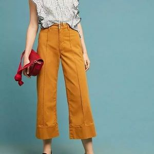 Anthropologie cropped chino wide leg pant 2
